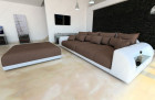 XXL Fabric Sofa Miami with LED Lights brown - Hugo 8