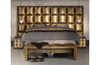 Boxspring Bed Las Vegas in synthetic leather - gold