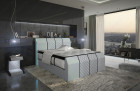 Modern boxspringbed Clayton with LED lighting in microfibre Mineva 2 - alaskagrey