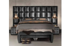 Boxspring Bed Las Vegas in synthetic leather - black