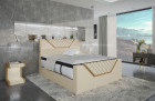 Designer bed Nantes box spring bed with LED and USB in beige - sand beige