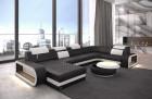 Designer couch U shape Chesterfield Ottoman Charlotte - color black-white