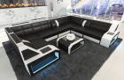 Sectional leather sofa San Jose U Shape black-white