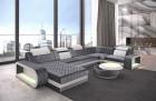 Couch Berlin U Shape with USB LED Lighting Velvet - light grey Sun Velvet 1014
