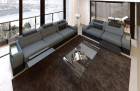 Couchgarnitur Stoff Leder Mix San Francisco Fabric Couch set San Francisco with relax and LED lighting - grey Mineva 15mit Relax und LED Beleuchtung - grau Mineva 15
