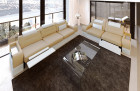 Fabric couch set microfibre Orlando with relax function LED - beige Mineva 4