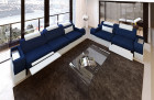 Fabric couch set microfibre San Francisco with recliner LED - blue Mineva 17