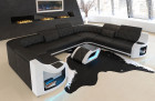 Leather Couch Columbia living landscape with LED lighting in black - white