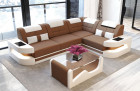 Design Sectional Sofa Microfiber - light-brown Mineva 5