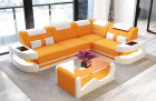 Sofa Couch modern L Shape - Microfiber orange Mineva 16