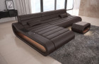 Luxury Sectional Sofa Concept L Short with LED lights - dark-brown