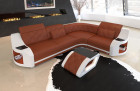 Leather Couch Chesterfield Pattern Columbia brown - white