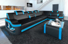 Leather sofa designer couch Manhattan with relax function in black - blue