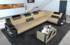 Padded couch Manhattan L with adjustable headrests in microfibre fabric Mineva 4 - beige