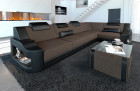 Padded couch Manhattan L modern with adjustable headrests in structured fabric Hugo 8 - brown