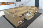 Upholstered sofa Manhattan U Form with LED lighting in microfibre Mineva 4 - beige