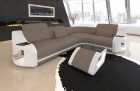 modern corner sofa with Chesterfield quilting microfibre Mineva 21 - Taupe