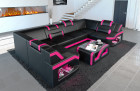 Leather sofa Manhattan U living sectional sofa black-pink with LED lights and shelves