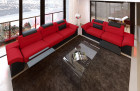 Fabric Chicago microfibre couch set with recliner LED - red Mineva 20