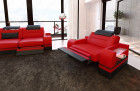Modern Sofa 3 and 2 seater LED red-black