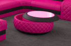 Charlotte coffee table with glass top and LED lighting in pink black