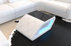 Genuine leather table Palm Beach with LED lighting in white