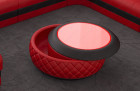 Designer leather coffee table Charlotte extendable in red black