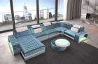 Fabric Sofa Berlin U Velvet USB LED Lighting - light blue Sun Velvet 1013