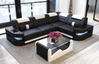 Design Sectional Couch Denver L-Shape with LED - black-white