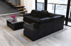 Sectional Couch modern with LED lights - black Fabric Hugo 13