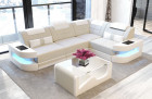 Corner Sofa with LED lights - Structured Fabric ivory Hugo 1