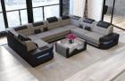 Luxury Sofa with LED lights - Fabric Microfibre grey Mineva 21