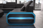 Modern leather sectional sofa with LED lighting in black-blue