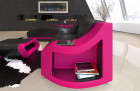 Corner sofa Swing leather couch with ottoman in black - pink