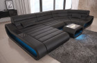 Luxury Leather Sectional Sofa Concept U Shape LED lights - black