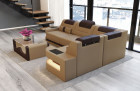 Luxus Couch Denver U-Shape with lights - sandbeige-black