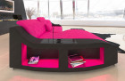 Leather corner couch Swing with Recamiere in pink - black