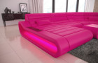 Modern Leather Sectional Sofa Concept U Shape LED lights - pink