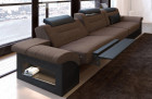 Three seater Sofa Chicago faric with electrical relax function - dark brown Hugo 8