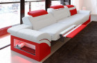 Modern 3 Seater leather in white-red