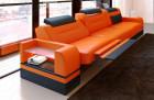 3 Seat Leathersofa Orlando LED (orange-black)