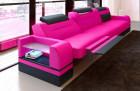 Leather Sofa Orlando (pink-black)