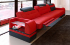 Leather Sofa San Francisco (red-black)