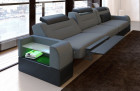 Three-seater sofa San Francisco fabric with electric relax function grey Mineva 15