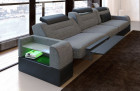 Three-seater sofa San Francisco fabric with electric relax function grey Hugo 5