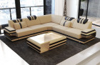 Design Fabric Sofa Hollywood L Shaped with microfibre fabric Mineva 4 - beige