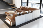 Luxury Sofa San Antonio with LED Lights and USB with microfibre fabric Mineva 5 - light brown
