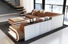 Luksus sofa San Antonio med LED-lys og USB med mikrofiberstof Mineva 14 - sort