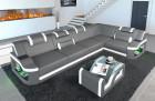 Leather sofa corner sofa Manhattan adjustable headrests grey - white