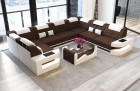 Designer Sofa with LED lights - Fabric Microfibre brown Mineva 7
